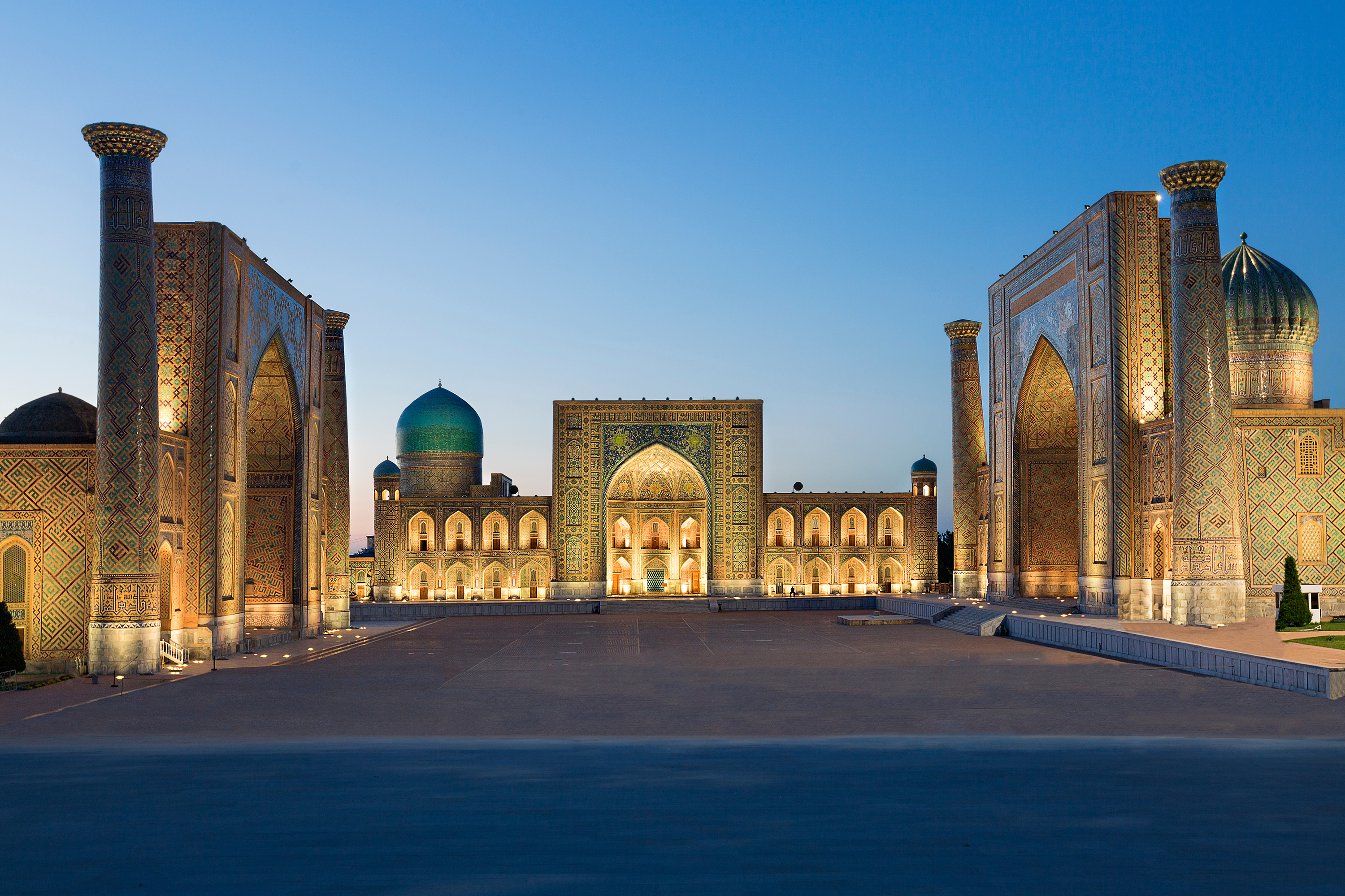 Registan Square at the twilight Samarkand