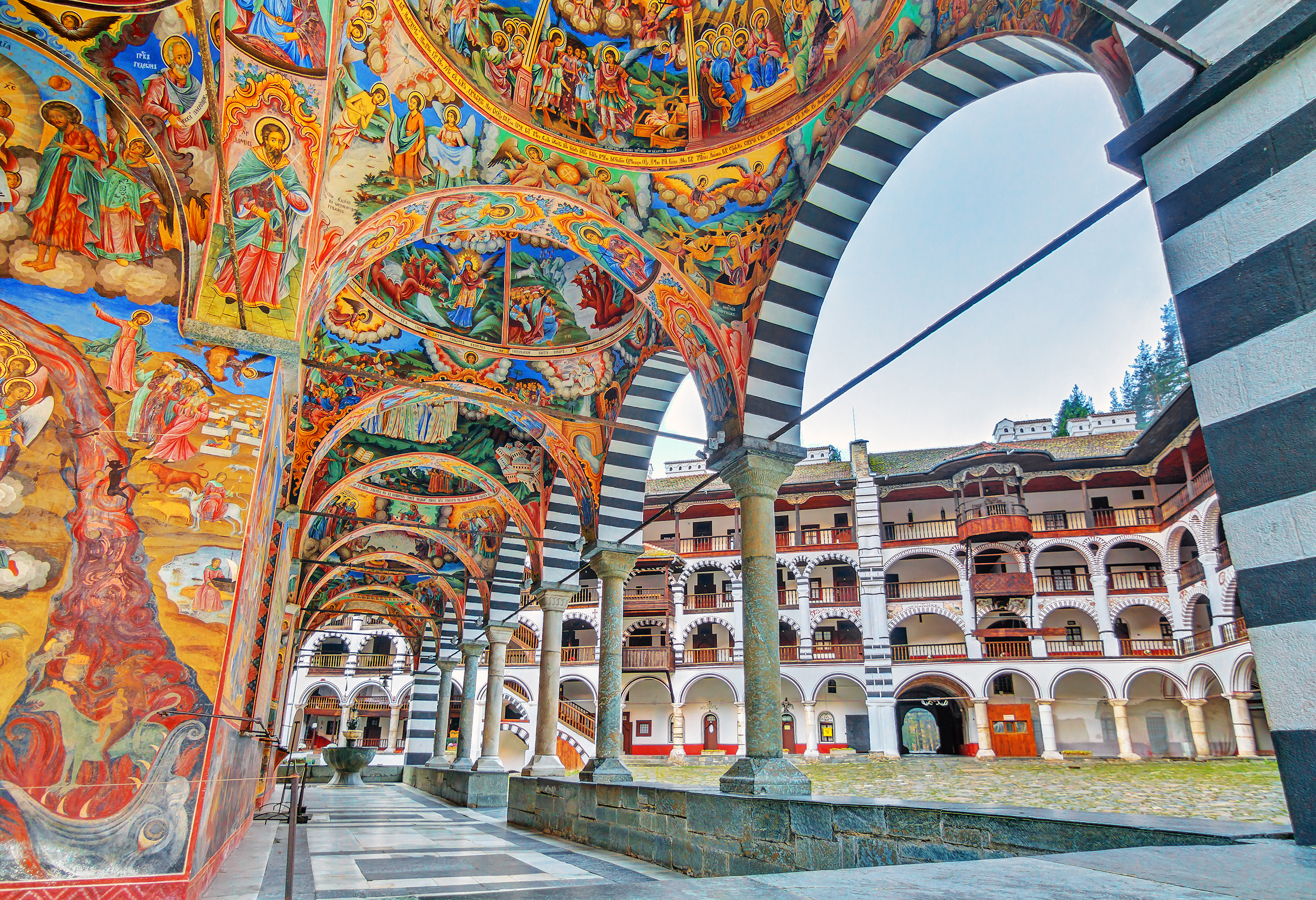 The vivid interior of the famous Rila Monastery